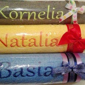 Ręczniki haftowane z imionami
